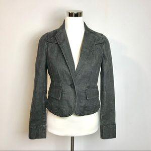 Ann Taylor LOFT Dark Was Denim Blazer Jacket